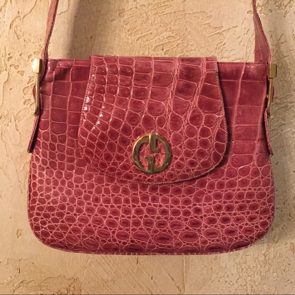 f0224227b078 Gucci Bags | Vintage Crocodile Purse In Dusty Rose | Poshmark